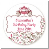 Fairy Tale Princess Carriage - Round Personalized Birthday Party Sticker Labels
