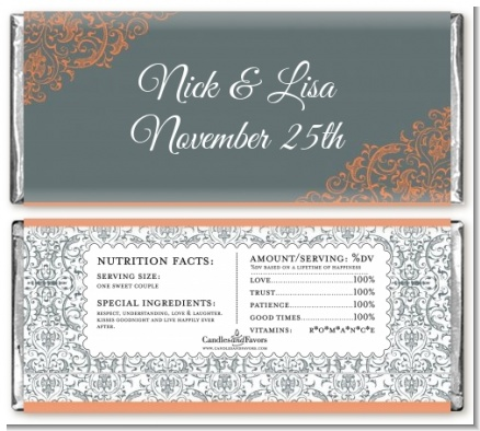 Grey & Orange - Personalized Bridal Shower Candy Bar Wrappers