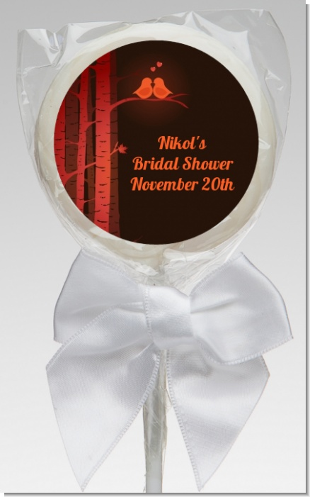Fall Love Birds - Personalized Bridal Shower Lollipop Favors
