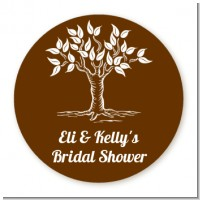 Fall Tree - Round Personalized Bridal Shower Sticker Labels
