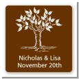 Fall Tree - Square Personalized Bridal Shower Sticker Labels thumbnail