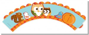 Owl - Fall Theme or Halloween - Baby Shower Cupcake Wrappers