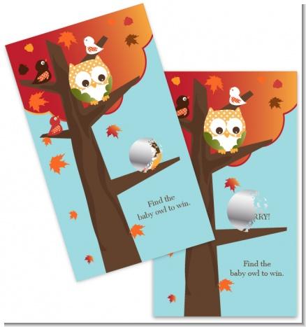 Owl - Fall Theme or Halloween - Baby Shower Scratch Off Game Tickets