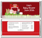 Farm Animals - Personalized Baby Shower Candy Bar Wrappers