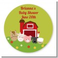 Farm Animals - Round Personalized Baby Shower Sticker Labels thumbnail