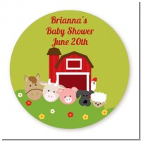 Farm Animals - Round Personalized Baby Shower Sticker Labels