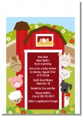 Farm Animals - Baby Shower Petite Invitations