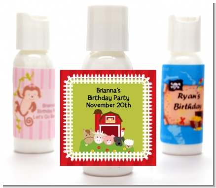 Farm Animals - Personalized Birthday Party Lotion Favors
