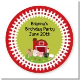 Farm Animals - Round Personalized Birthday Party Sticker Labels