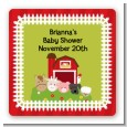 Farm Animals - Square Personalized Baby Shower Sticker Labels thumbnail