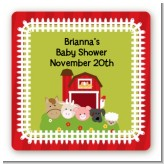 Farm Animals - Square Personalized Baby Shower Sticker Labels