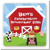 Farm Boy - Square Personalized Birthday Party Sticker Labels