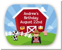 Farm Boy - Personalized Birthday Party Rounded Corner Stickers