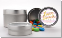 Faux Gold and Lavender Stripes - Custom Baby Shower Favor Tins