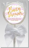 Faux Gold and Lavender Stripes - Personalized Baby Shower Lollipop Favors