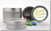 Faux Gold and Mint Stripes - Custom Baby Shower Favor Tins