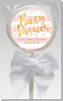 Faux Gold and Pink Stripes - Personalized Baby Shower Lollipop Favors