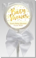 Faux Gold and Yellow Stripes - Personalized Baby Shower Lollipop Favors
