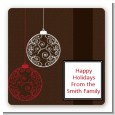 Festive Ornaments - Square Personalized Christmas Sticker Labels thumbnail