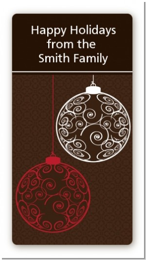 Festive Ornaments - Custom Rectangle Christmas Sticker/Labels