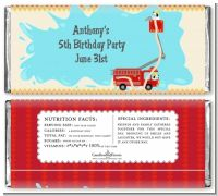Fire Truck - Personalized Birthday Party Candy Bar Wrappers