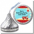 Fire Truck - Hershey Kiss Birthday Party Sticker Labels thumbnail
