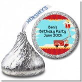 Fire Truck - Hershey Kiss Birthday Party Sticker Labels
