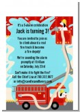 Fire Truck - Birthday Party Petite Invitations