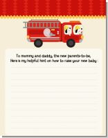 Fire Truck - Baby Shower Notes of Advice