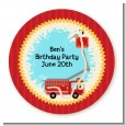 Fire Truck - Round Personalized Birthday Party Sticker Labels thumbnail