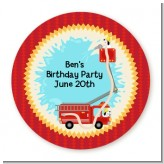 Fire Truck - Round Personalized Birthday Party Sticker Labels