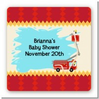 Fire Truck - Square Personalized Baby Shower Sticker Labels