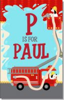 Fire Truck - Personalized Baby Shower Nursery Wall Art
