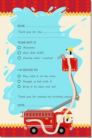 Fire Truck - Birthday Party Fill In Thank You Cards