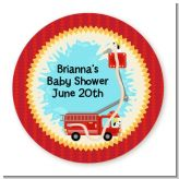 Fire Truck - Round Personalized Baby Shower Sticker Labels