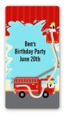 Fire Truck - Custom Rectangle Birthday Party Sticker/Labels