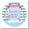 Flamingo - Round Personalized Baby Shower Sticker Labels thumbnail