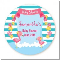 Flamingo - Round Personalized Baby Shower Sticker Labels