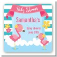 Flamingo - Square Personalized Baby Shower Sticker Labels thumbnail