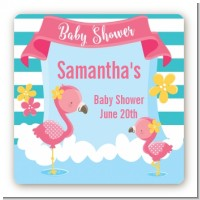 Flamingo - Square Personalized Baby Shower Sticker Labels