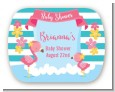 Flamingo - Personalized Baby Shower Rounded Corner Stickers thumbnail