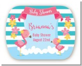 Flamingo - Personalized Baby Shower Rounded Corner Stickers
