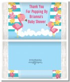 Flamingo - Personalized Popcorn Wrapper Baby Shower Favors