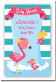 Flamingo - Custom Large Rectangle Baby Shower Sticker/Labels