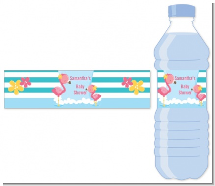 Flamingo - Personalized Baby Shower Water Bottle Labels