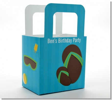 Flip Flops Boy Pool Party - Personalized Birthday Party Favor Boxes