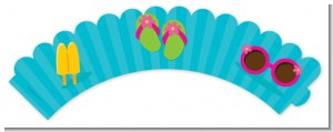 Flip Flops Girl Pool Party - Birthday Party Cupcake Wrappers