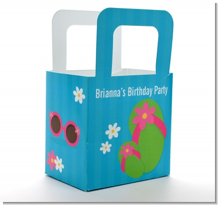 Flip Flops Girl Pool Party - Personalized Birthday Party Favor Boxes
