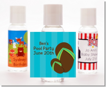 Flip Flops Boy Pool Party - Personalized Birthday Party Hand Sanitizers Favors