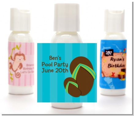Flip Flops Boy Pool Party - Personalized Birthday Party Lotion Favors
